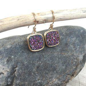 14K gold/sterling Purple Druzy Square Earrings